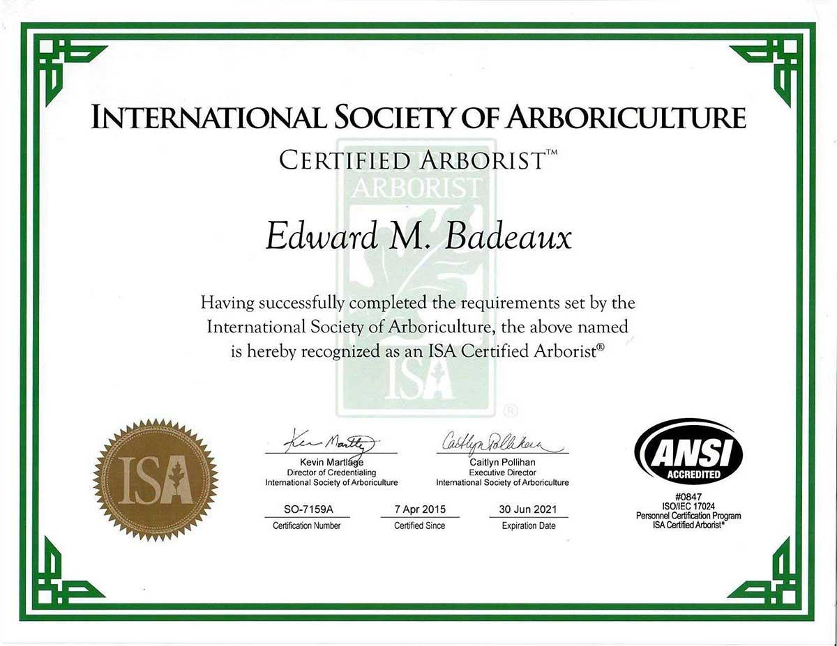 ISA Certified Arborist on Staff