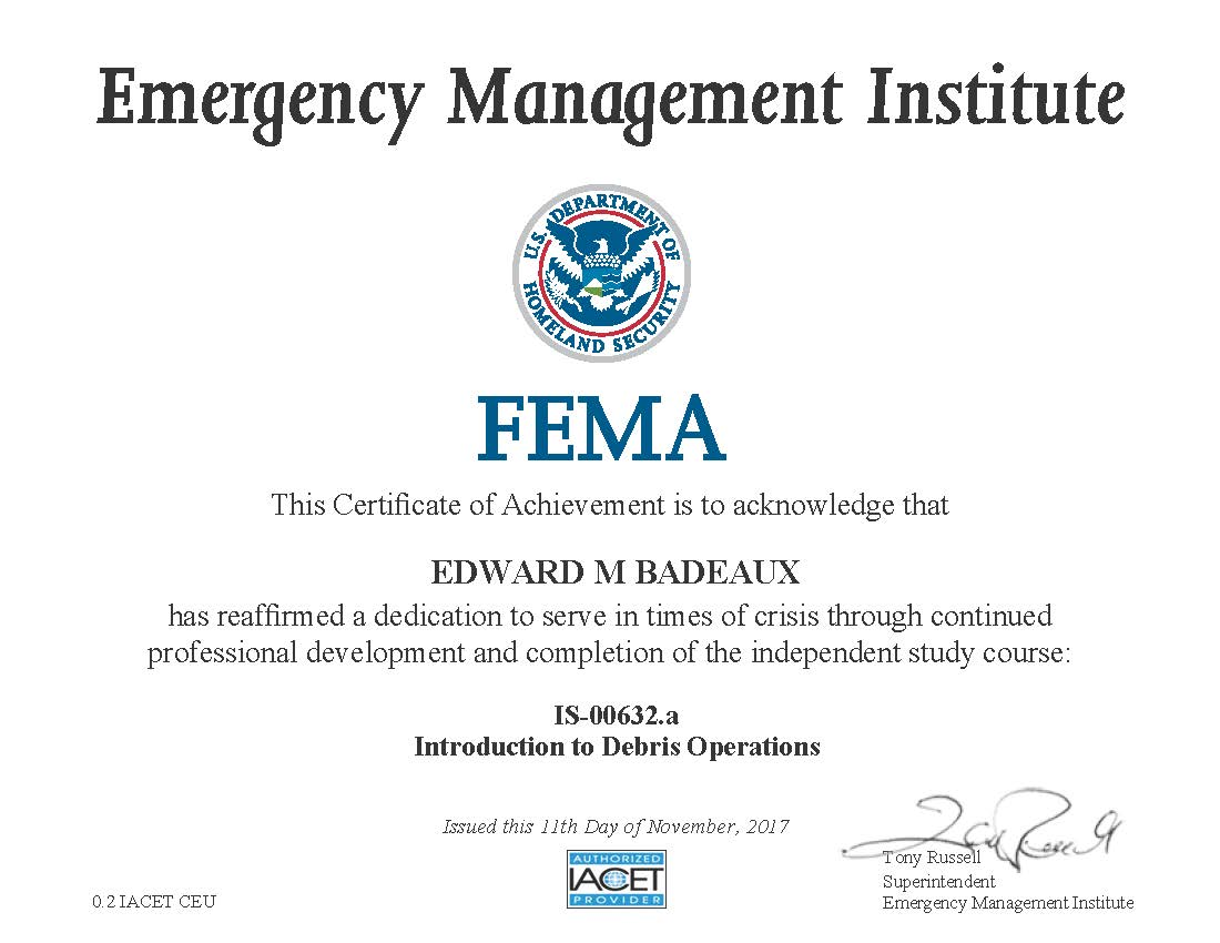 FEMA Certified, IS-00632a Introduction to Debris Operations