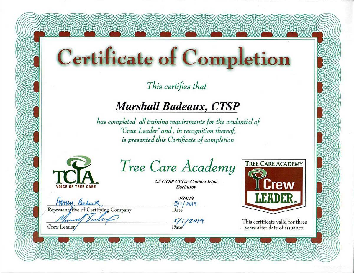 Tree Care Academy Certified, Crew Leader