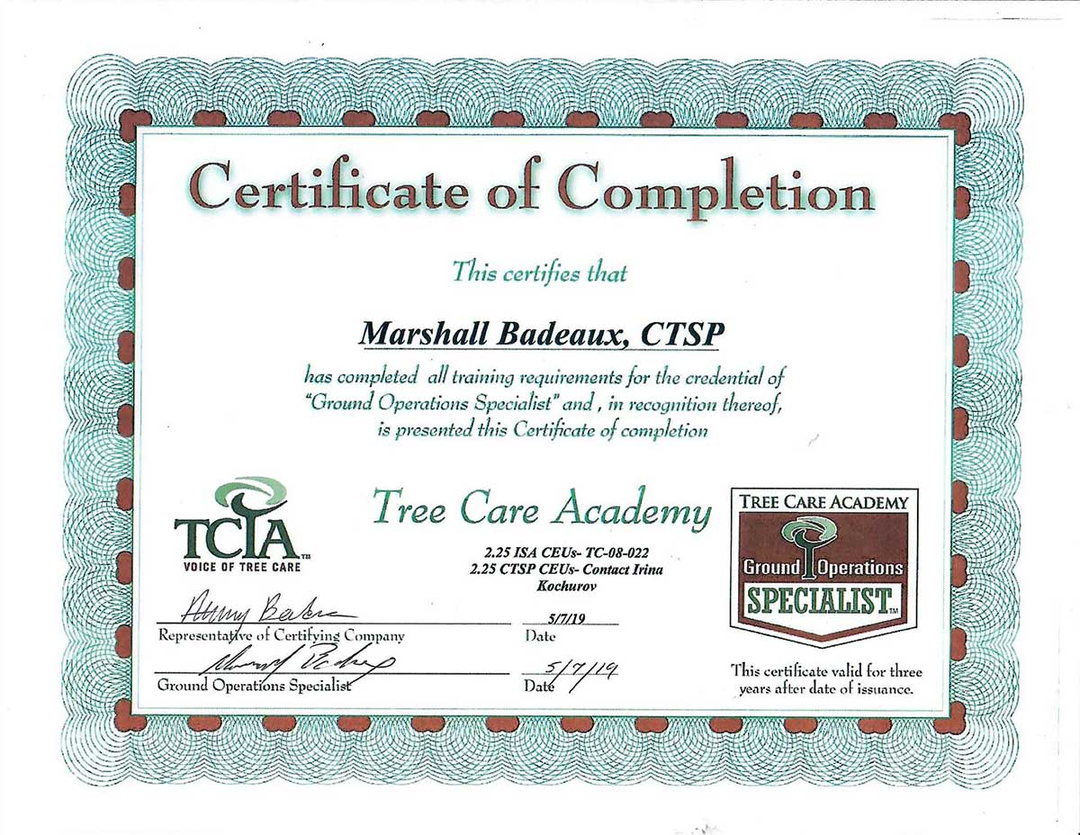 Tree Care Academy Certified, Ground Operations Specialist