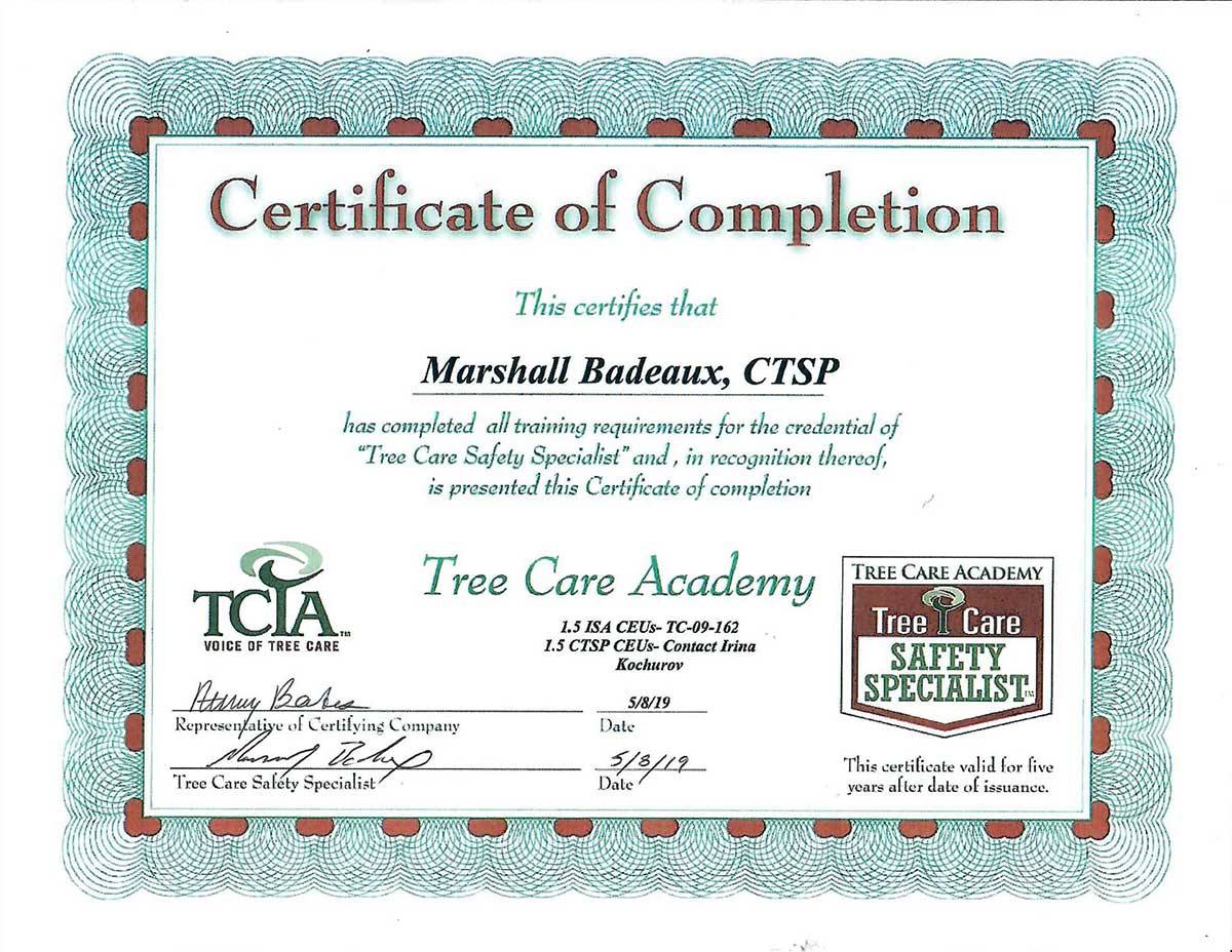 Tree Care Academy Certified, Tree Care Safety Specialist
