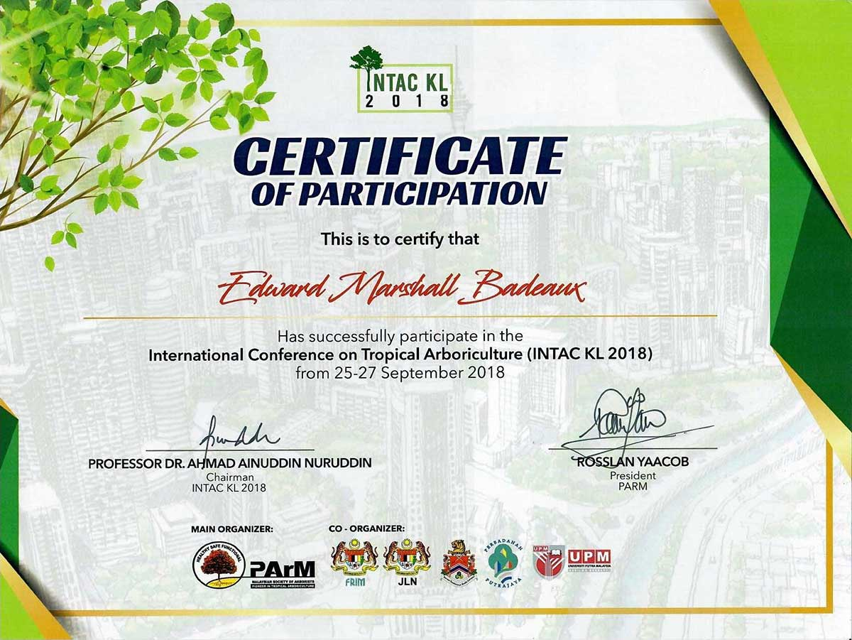 INTAC KL Certificate of Participant